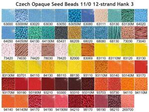 Czech 11/0 Opaque Rocaille Glass Seed Beads 12-strand Hank 3