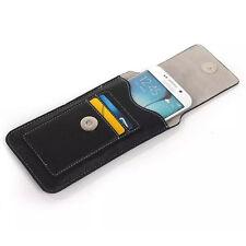 Universal Flip Leather Phones Holster Case Wallet Card Waist Bag Pouch Belt Clip