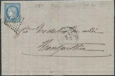 1873 Lettre GARD FRANCE N°60 obl PC du GC 369 + CAD TYPE 17 BEAUCAIRE Indice 19