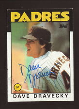 Dave Dravecky--Autographed 1986 Topps Baseball Card--San Diego Padres