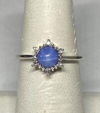 Vintage NOS 1970's Silver Linde Blue Star Sapphire & Genuine Diamond Ladies Ring