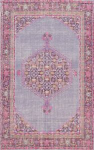 Vintage Style Geometric Oushak Oriental Area Rug Mauve Handmade Wool 6x8 Carpet
