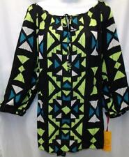 RUBY RD. PLUS SIZE 1X SHEER KEYHOLE NECK 3/4 SLEEVE PEASANT TUNIC TOP SHIRT NEW