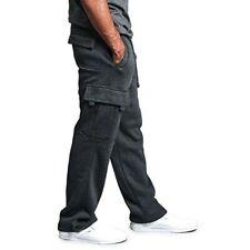 Mens Fleece Cargo Baggy Jogging Bottoms Sweatpants With Multi Pockets Size 3XL