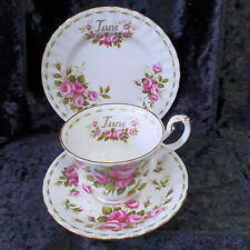 🌟 ROYAL ALBERT JUNE ROSES TRIO TEACUP SAUCER SIDE PLATE FLOWER OF THE MONTH