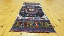 "Exquisite 1930-1940's Antique Natural Colors Wool Pile Tribal Rug 1'10"" × 4'6"""