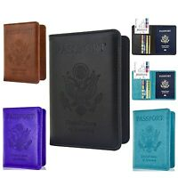 Passport Travel Leather Organizer holder RFID card Case Protector Cover Wallet