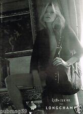 Publicité advertising 2010 Maroquinerie Cuir sac à main Longchamp Kate Moss