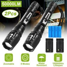 2PCS 50000LM LED Rechargeable Tactical Torch Flashlight 18650 Battery &Charger