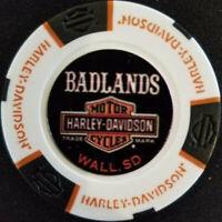 Harley Poker Chip Full Color~(White/Blk/Org) BADLANDS HD~STURGIS RALLY 2018