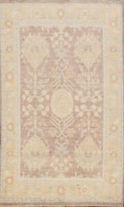 Vegetable Dye All-Over Authentic Oushak Khotan Turkish Area Rug Hand-Knotted 5x7