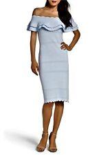 NWOT #S3 $138 ELIZA J Off Shoulder Ruffle Stretch Knit Sheath Dress P XS