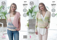King Cole Womens Opium Knitting Pattern Ladies Easy Knit Sweater & Top 4829