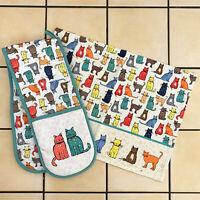 Ulster Weavers Kitten Catwalk Kitchen Cotton Hand Tea Towel Double Oven Gloves