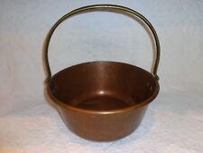 """Antique Copper Kettle/Cauldron/Pail/Bucket w Solid Brass Handle, 12"""" Diameter"""