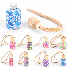 Floral Printed Hanging Perfume Car Bottle Air Freshener Diffuser Fragrance Charm