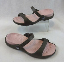 Crocs Cleo Sandal Pink Bubble Gum Brown Women's 4 Croslite Slip On Slides Shoes