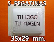 5 x Pegatinas Gota de Resina 35x29 mm. con tu Logo / Imagen. Adhesivos Relieve