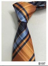 Orange et bleu à rayures à motifs fait main 100% Soie Mariage Cravate