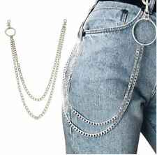 NEW Double Chain Link Biker Hoop Loop Trucker Wallet Chain Jean Belt Keychain