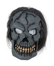 Skull Mask Skeleton W/Hair Halloween Costume Fancy Dress Mask