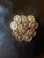 10 Vintage Gold Metal Buttons 20mm Cardigan Blouse Jacket Flower (147)