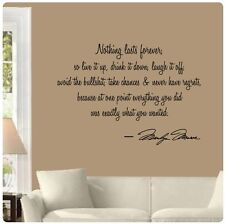 """33"""" Nothing Lasts Forever Marilyn Monroe Wall Decal Sticker Quote Live Laugh Art"""
