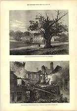 1877 piano FORTIFICAZIONE KARS scozzese Corporation Hall Fire INCISIONE