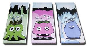 -Eden Hedz - 3 x Piece Cute Urban Canvas Art. Kidrobot Creatures City Mountains-