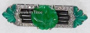 18K White Gold Vintage Diamond & Carved Emerald Pin