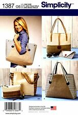 Simplicity Sewing Pattern 1387 Women's Bags Totes Purse Handbag Clutch
