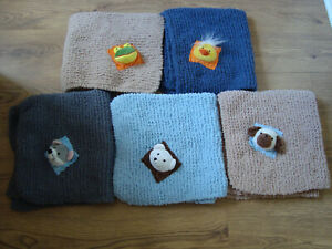 Hand Knitted Soft Baby Blanket- 5 colours head of Teddy,Mouse,Frog,Duck or Dog