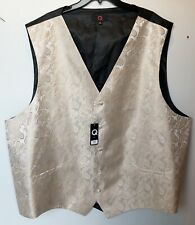 Mens Brand Q Tuxedo Vest Champagne Gold & Biege Paisley Size 5XL - New With Tags