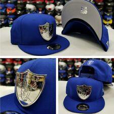 New Era Silver Metal Badge Shield NFL Oakland Raiders Snapback hat Royal Blue