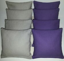 Set Of 8 All Weather Grey & Purple Cornhole Bean Bags Free Shipping!