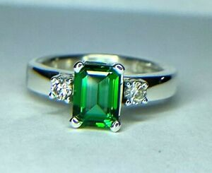 Tiffany & Co 2.00 Ct Green Natural Topaz & Natural Diamond Sterling Silver Ring