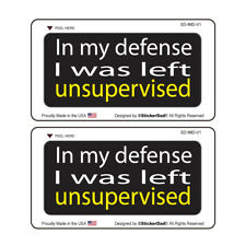 """IN MY DEFENSE (2 Pack) HardHat Sticker (size: 3"""" color: BLACK/WHT/YLW)"""