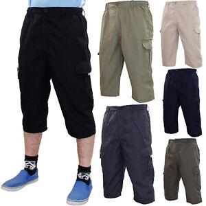 New Mens Elasticated Three Quarter Cotton Combat Cargo Work 3/4 Casual Shorts