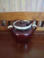McCoy USA Pottery Vintage Brown Drip Bean Pot  # 342 With Lid and Ladle