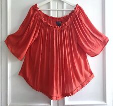1X Ruffle Red Coral Orange Crochet Lace Peasant Top BOHO on Off Shoulder Blouse