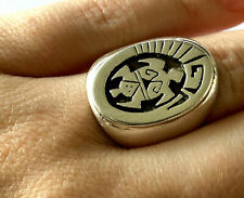 Signed H Cecil Henry Navajo Sterling 925 Overlay Tortoise Tribal Ring Sz 7.5