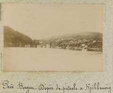 Norvège, Bergen, les alentours, dépôt de pétrole à Kjöhkenoïg  vintage albumen p