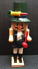 "Nutcracker German-Look w/Green Outfit Hat Red Mallet Black Megaphone 16"" Tall"