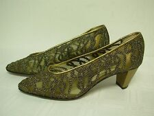 WALTER STEIGER GOLD MESH w TWISTED ROPE WOMENS PUMPS SHOES SIZE 6 1/2 B ~ NEW!