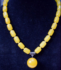 Natural 10x14mm Yellow Cylinder Gemstone Jade Necklace 18'' AAA
