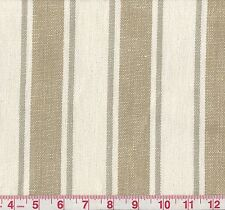 100% Linen Golding Angelina Gray Butter Woven Stripe Upholstery Fabric