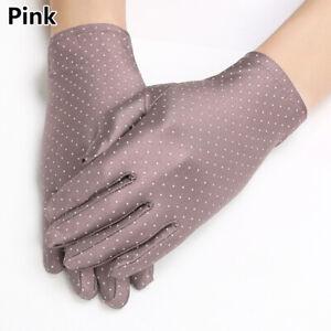 1 Pair Women Polka Dot Elastic Gloves Ladies Sun Protection Mittens Summer