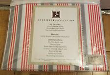 Concierge Collection striped microfiber queen sheet set orange gray white