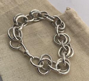 Hand Made Sterling Silver Gents Heavy Bracelet Hallmarked