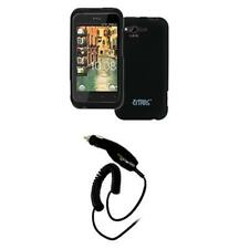 Black Hard Rubberized Case Cover+Car Charger for HTC Rhyme